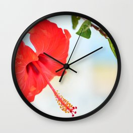 Red Hibiscus flower Wall Clock