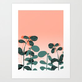 Later Days - indoor house plant ombre pink palm springs desert socal los angeles urban hipster retro Art Print