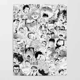 Ahegao Hentai Manga Guys Collage in B&W (Bara/Doujinshi) Poster