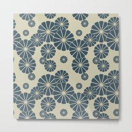 Blue Floral Japanese Pattern 2 Metal Print