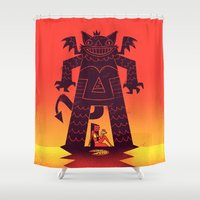 demon Shower Curtains featuring Pizza Demon by jublin