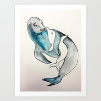 Comforting Sea Lion Art Print