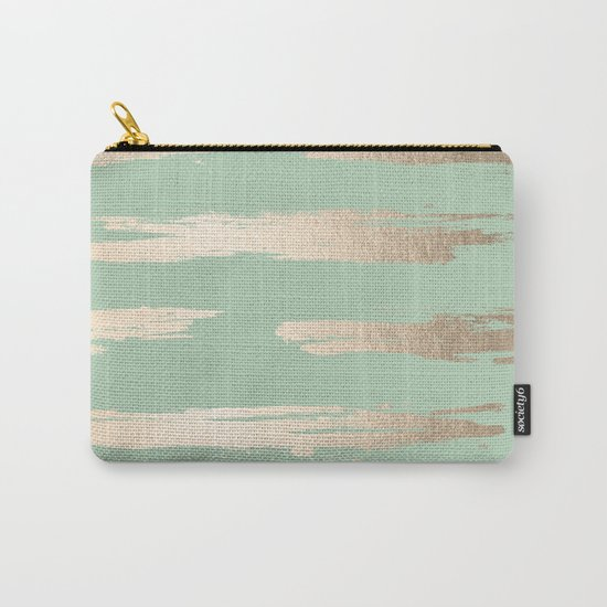 Simply Brushed Stripe White Gold Sands on Pastel Cactus Green Carry-All Pouch
