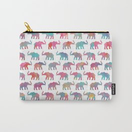 Elephants on Parade in Watercolor Carry-All Pouch