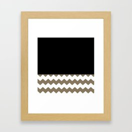 Classy Chevron Khaki Black And White Pattern Framed Art Print