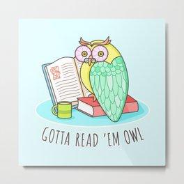 Reading Owl Metal Print