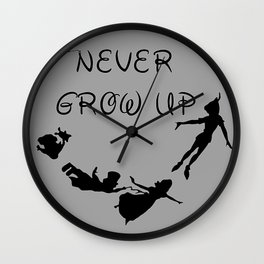 Never Grow Up - Inspired by Peter Pan Wall Clock