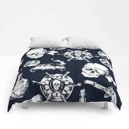 Navy Blue Pirate Pattern Comforters