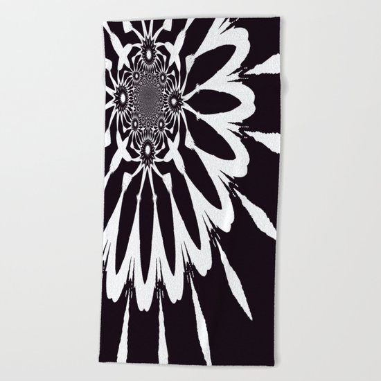 Black & White Modern Flower Beach Towel