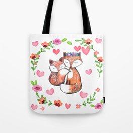 Mama Fox and Baby Tote Bag