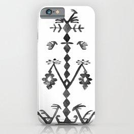 Tree of Life Black White Tribal Ethnic Kilim Motif iPhone Case