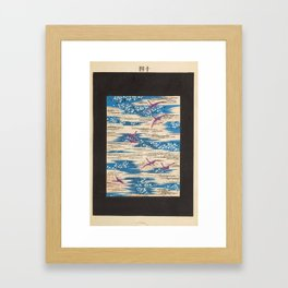 Japanese Print Cranes and sea Framed Art Print
