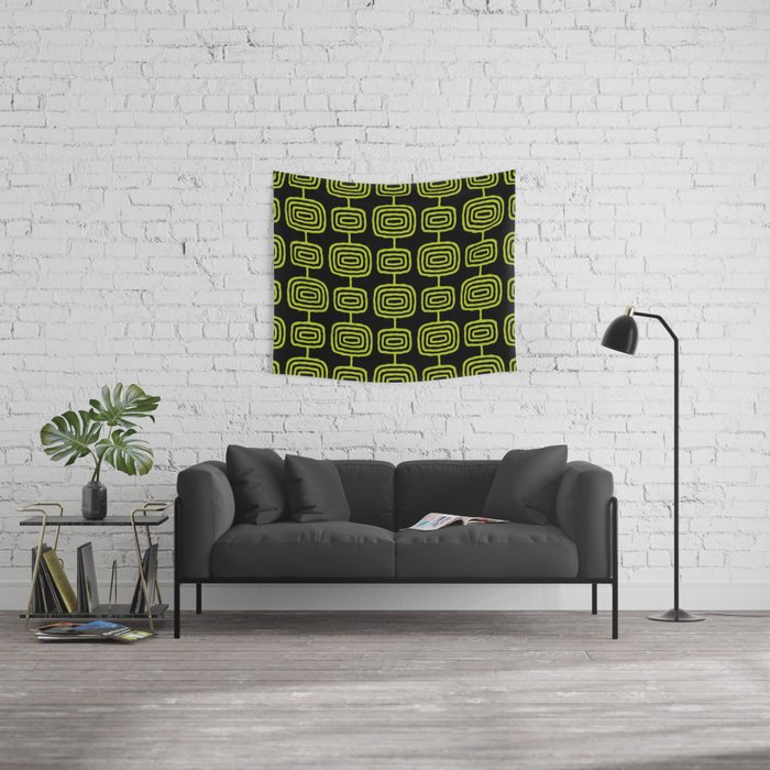 Mid Century Modern Atomic Rings Pattern Black and Chartreuse Wall Tapestry