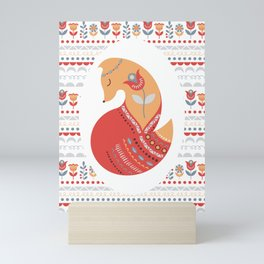 Red Fox on a patterned background in the oval. Folk art. The Scandinavian style. Mini Art Print