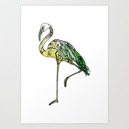 Yellow Flamingo Illustration Art Print
