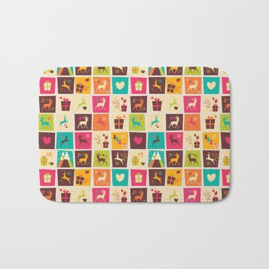 Christmas square pattern 02 Bath Mat