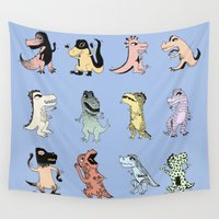 dinosaurs Wall Tapestries featuring Dinosaurs by BlandinePannequin