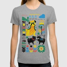 Scandinavian Pugs Tri-Grey Womens Fitted Tee SMALL