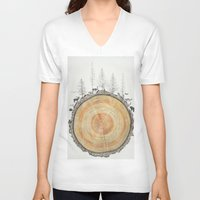 tree rings V-neck T-shirts featuring Tree Rings by dreamshade