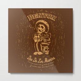 Denton Dia De Los Muertos woodcut Metal Print