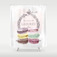 macaroon Shower Curtains featuring French Macaroon, Kitchen Art, Pastel by PeachAndGold