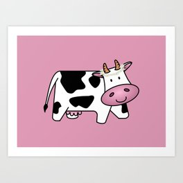 Standing Cow with Daisies Art Print