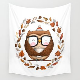 Fall Ready Owl- Illustration Wall Tapestry