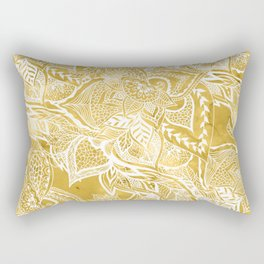 Modern lemon curry watercolor floral hand drawn pattern Rectangular Pillow
