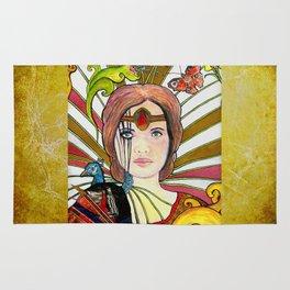 La jeune fille au paon (the peacock maiden) Rug
