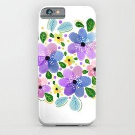 Purple Aquarelle Roses iPhone Case