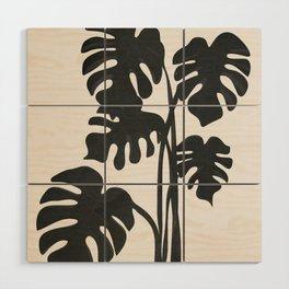 Monstera Line Wood Wall Art