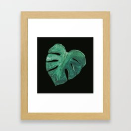 Monstera Leaf on Black Framed Art Print