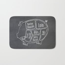 Pork Butcher Diagram (Pig Meat Chart) Bath Mat