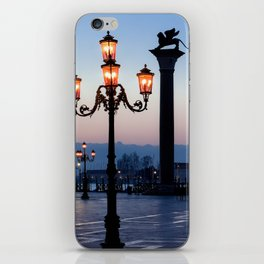 Morning at San Marco square. Saint Theodore and Lion of Saint Mark columns. iPhone Skin