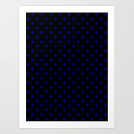 Navy Blue on Black Stars Art Print