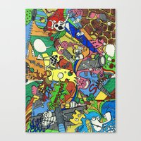 planes Canvas Prints featuring Planes by Dr. Freakinstyle