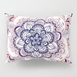Woven Dream - Mandala in Pink, White and deep Purple Pillow Sham