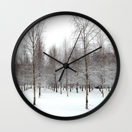 tree patterns in the snow Wall Clock