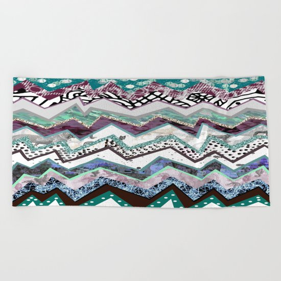 Winter Zigzags Abstract Beach Towel