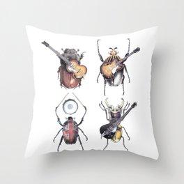 Meet the Beetles (white option) Throw Pillow