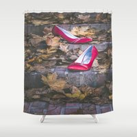 erotic Shower Curtains featuring Red Shoes by Maria Heyens