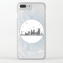 Seattle, Washington City Skyline Illustration Drawing Clear iPhone Case