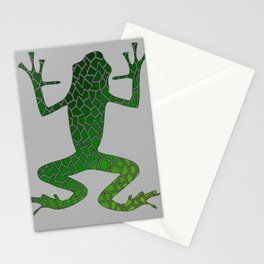 Green frog mosaic paws up Mosaic Stationery Cards