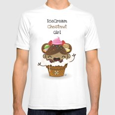 Ice Cream Chestnut Girl Mens Fitted Tee White MEDIUM