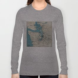 Vintage Map of The Puget Sound (1919) Long Sleeve T-shirt