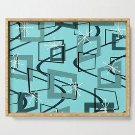 Mid Century Modern Minimalism Turquoise Serving Tray