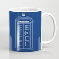 blueprint Mugs featuring TARDIS Blueprint - Doctor Who by BeckiBoos