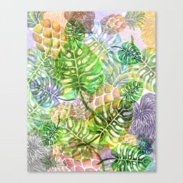 Monstera Pineapple Sky River Reflection Spring Summer Canvas Print
