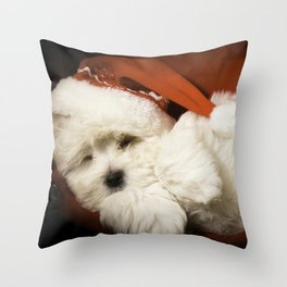 Sleepy Santa Puppy Throw Pillow