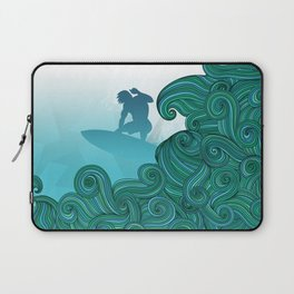 Surfer dude hangin ten and catching a wave Laptop Sleeve
